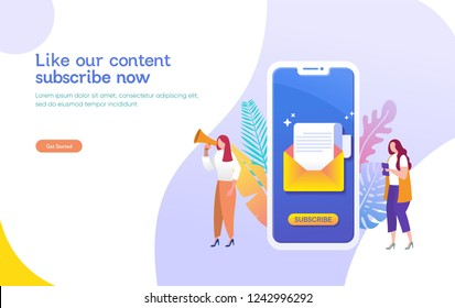 Email subscribe vector illustration concept, email marketing system, people use smartphone and subscribe and received newsletter, can use for, landing page, template, ui, web, mobile app, banner