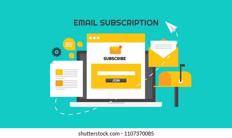 Email subscription - Email marketing campaign - Newsletter marketing  strategy flat design vector banner isolated on green background