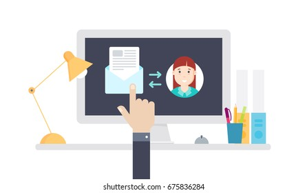 Email symbol on the computer monitor. E-mail message concept. Flat vector illustration
