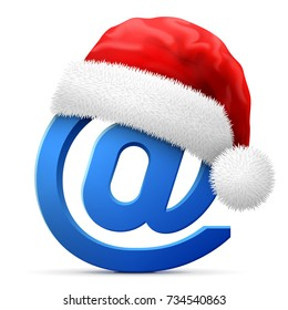 Email symbol in red Santa Claus hat. Christmas hat is put on mail sign. Vector illustration for christmas & new years day, internet and e-mail, winter holiday