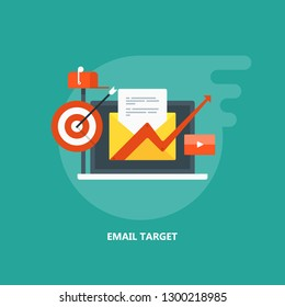 Email targeting, Subscription, Digital Content marketing, flat design vector illustration with icons