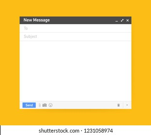 Email template. Blank e-mail browser window. Mail message web page vector frame. Vector stock illustration.
