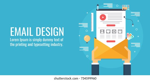 Email template, layout, design, hand holding envelope flat vector concept