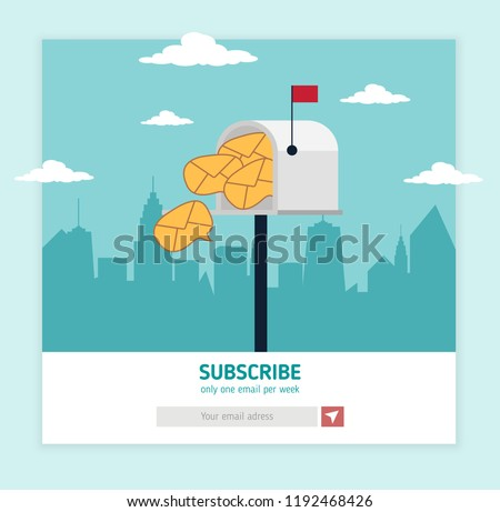 Email Template Subscribe Page Grey Post Stock Vector Royalty Free