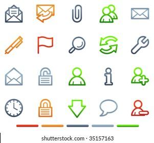 E-mail web icons, colour symbols series