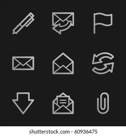 E-mail web icons, grey mobile style