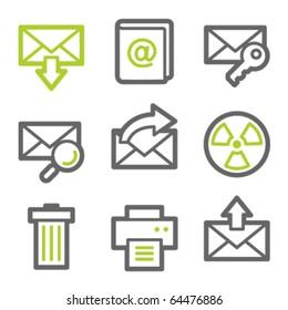 E-mail web icons set 2, green and gray contour series