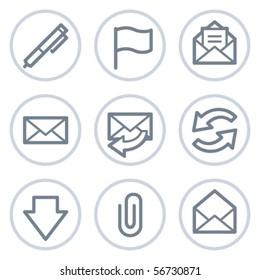 E-mail web icons, white circle series