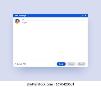 Email window template, new message interface mockup. Computer desktop screen of mail isolated. Abstract symbol of business or personal communication. Internet webpage illustration.