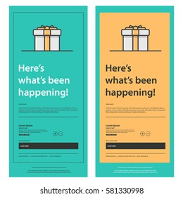Emailer Newsletter Design Template With Gift Box (Vector Illustration)