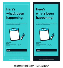 Emailer Newsletter Design Template With Notepad and Pen (Vector Illustration)
