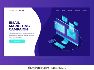 E-mailing notification concept.  Monitor with an envelope and e-mail on screen. Email marketing. Design template for landing page. Isometric vector illustration.