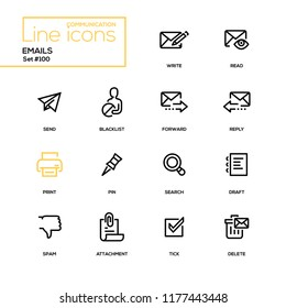 Emails - modern line design icons set. High quality black pictograms on white background. Write, read, send, blacklist, forward, reply, print, pin, search, draft, spam, attachment, tick, delete