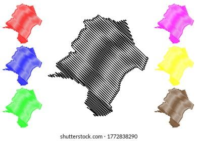 Emanuel County, Georgia (U.S. county, United States of America,USA, U.S., US) map vector illustration, scribble sketch Emanuel map