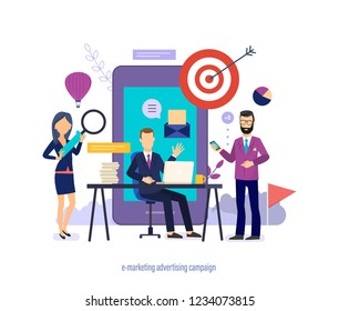 E-marketing advertising campaign. Promotion through email newsletter subscription, social networks, media, mobile marketing, seo advertising, strategy planning online business. Vector illustration.