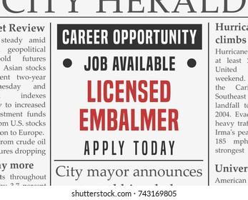 Embalmer career - job hiring classified ad vector in fake newspaper.