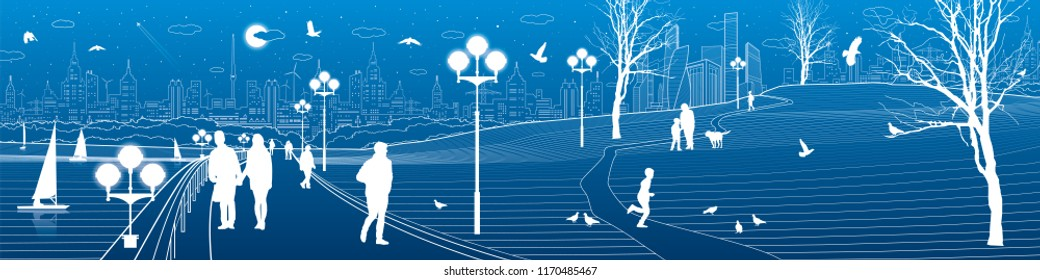 Сity embankment. People walk along the sidewalk. Evening illuminated park. Kids are playing. Birds are flying. Modern night town on background. Vector design art