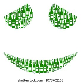 Embarassed Smile collage of alcohol bottles and circles in various sizes and green colors. Vector items are composed into embarassed smile collage. Bottle design concept.