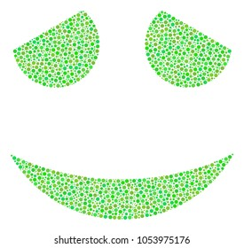 Embarassed Smile collage of circle dots in different sizes and ecological green shades. Dots are united into embarassed smile vector illustration. Ecology vector design concept.