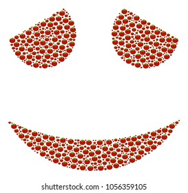 Embarassed Smile collage of tomato. Vector tomato vegetable symbols are organized into embarassed smile composition. Vegan vector illustration.