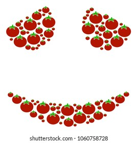 Embarassed Smile collage of tomato vegetables in various sizes. Vector tomato elements are united into embarassed smile illustration. Vegetable vector design concept.