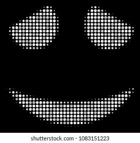 Embarassed smile halftone vector icon. Illustration style is pixelated iconic embarassed smile symbol on a black background. Halftone pattern is constructed of round points.