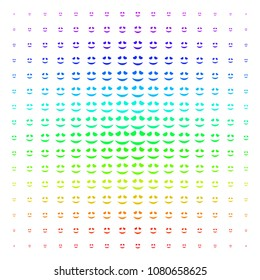 Embarassed Smile icon rainbow colored halftone pattern. Vector embarassed smile pictograms organized into halftone grid with vertical spectrum gradient. Designed for backgrounds,