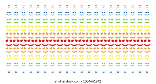 Embarassed Smile icon rainbow colored halftone pattern. Vector symbols organized into halftone grid with vertical spectral gradient. Designed for backgrounds, covers, templates and abstract concepts.