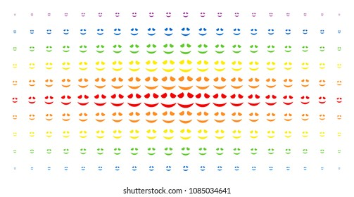 Embarassed smile icon spectrum halftone pattern. Vector embarassed smile items are organized into halftone array with vertical spectrum gradient. Constructed for backgrounds, covers,