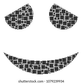 Embarassed Smile mosaic icon of rectangles and round items in variable sizes. Vector items are composed into embarassed smile collage design concept.