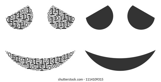Embarassed smile mosaic icon of zero and null digits in variable sizes. Vector digits are scattered into embarassed smile composition design concept.
