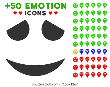 Embarassed Smile pictograph with bonus mood images. Vector illustration style is flat iconic symbols for web design, app user interfaces.