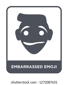 embarrassed emoji icon vector on white background, embarrassed emoji trendy filled icons from Emoji collection, embarrassed emoji simple element illustration