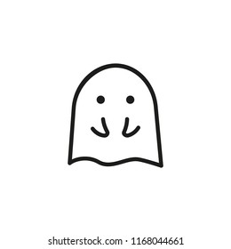 Embarrassed ghost line icon. Shocked, shy, fear. Halloween concept. Vector illustration can be used for topics like character, phantom, mystery