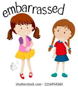 Embarrassed girl on white background illustration