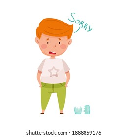 Embarrassed Little Boy with Guilty Look Demonstrating Sorrow and Begging Pardon for Broken Glass Vector Illustration
