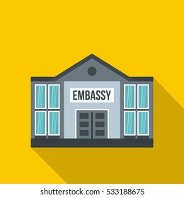 Embassy icon. Flat illustration of embassy vector icon for web