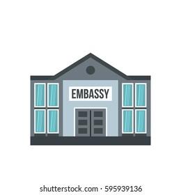 Embassy icon. Flat illustration of embassy vector icon isolated on white background