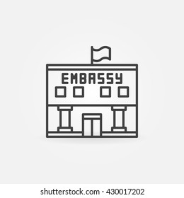Embassy linear icon - vector government building symbol or sign in thin line style