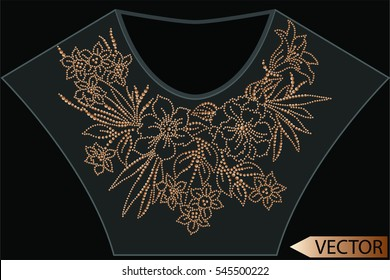 Embellishment hot fix stud stone designs Fashion apparel artwork for neck embellishment