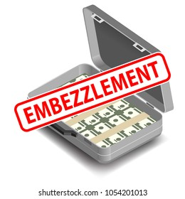 embezzlement concept, briefcase with money in background
