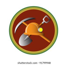 The emble of the miner work, with the shovel, pick and helmet on it.