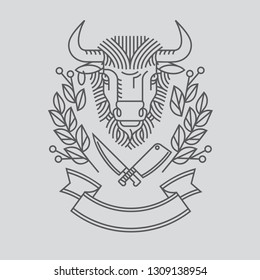 Emblem, badge with a bull's head. Ribbon, the motto, a Laurel wreath, a cleaver and a knife in the style of linear engravings design premium logo or emblem. Bull with a crown symbol of strength, perse