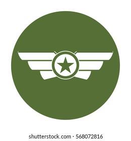 Emblem badge showing military rank, icon vector illustration