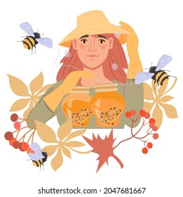 Emblem or banner for beekeeping, honey proceeding and sale, apiary with cartoon beekeeper femele character, flat vector illustration isolated on white background.