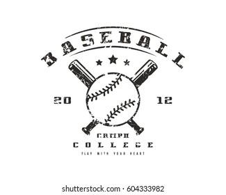 Emblem of baseball college team. Graphic design for t-shirt. Black print on white background