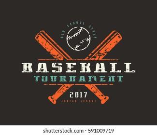 Emblem of baseball tournament. Graphic design for t-shirt. Color print on black background