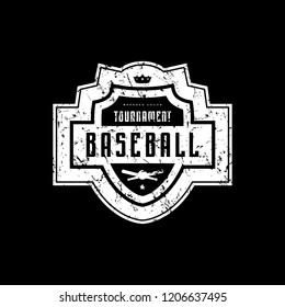 Emblem of baseball tournament with vintage texture for sticker, tag and t-shirt design. White print on black background