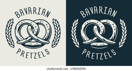 Emblem of bavarian pretzel for beer festival or menu