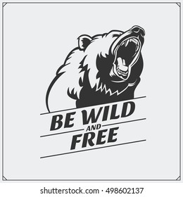 The emblem with bear. Print design for t-shirt.